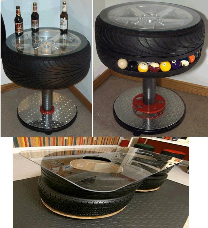 ideias de mesas com pneus