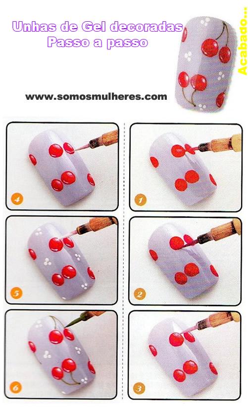 decoração de unhas cerejas