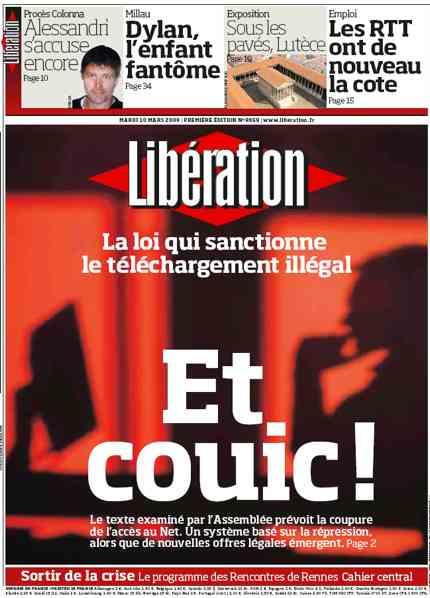 Une de Libération sur Hadopi