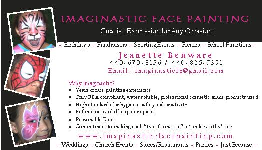 Business Cards Page 3 Card Sandra Bates Face Painting