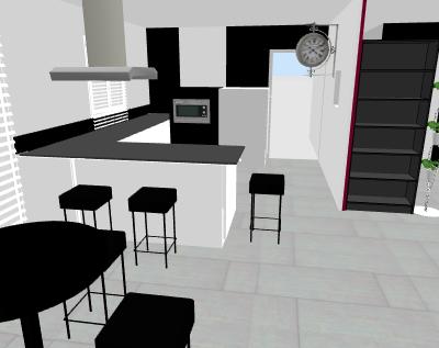Besoin d 39 aide changement de la couleur de nos murs page 2 for Cuisine en noir et blanc