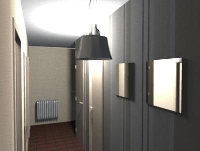 D co du couloir en l sol sombre for Papier peint couloir moderne