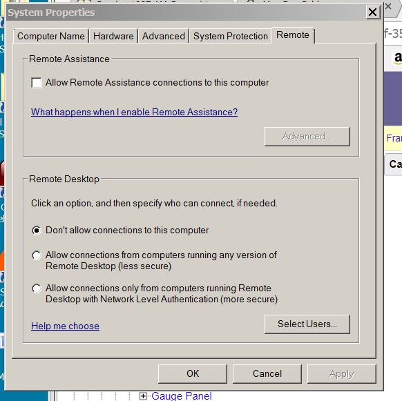 Cannot disable Remote desktop from system properties - Windows 7